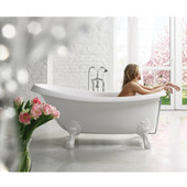 Nostalgia™ Freestanding Cast Stone Unique-Shaped Bathtub with White Clawfoot Tub Feet, High Gloss White, 67'' W x 32-3/4'' D x 29-3/4'' H