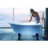 Nostalgia™ Freestanding Cast Stone Unique-Shaped Bathtub with Ash Clawfoot Tub Feet, High Gloss White, 67'' W x 32-3/4'' D x 29-3/4'' H