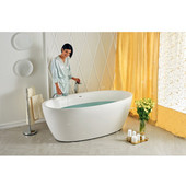 Sensuality™ Freestanding Oval Solid Surface Bathtub, Matte White, 69-3/4'' W x 35'' D x 25-1/2'' H