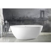 Sensuality Mini™ Mini Freestanding Oval Solid Surface Bathtub, Matte White, 66-1/2'' W x 33'' D x 26-3/4'' H