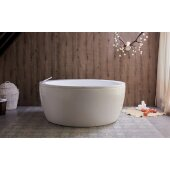 Pamela™ Freestanding Round Acrylic Bathtub, High Gloss White, 68'' Diameter x 29-1/2'' H