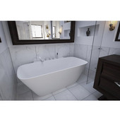 Arabella™ Back To Wall Solid Surface Bathtub, Matte White, 68-1/2'' W x 34-1/4'' D x 24-1/2'' H