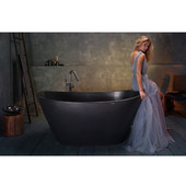 PureScape AquateX™ Oval Solid Surface Bathtub, Matte Black, 63'' W x 33-1/2'' D x 28-1/4'' H