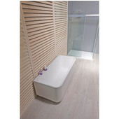Sincera™ Back To Wall Rectangular Solid Surface Bathtub, Matte White, 63'' W x 28'' D x 24-1/2'' H