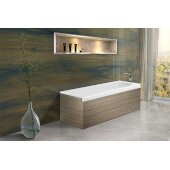 PureScape AquateX™ Pure 1L™ Back To Wall Rectangular Solid Surface Bathtub with Light Decorative Wooden Side Panels, Matte White, 67'' W x 31-1/2'' D x 24'' H