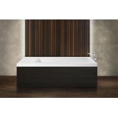 PureScape AquateX™ Pure 2D™ Back To Wall Rectangular Solid Surface Bathtub with Dark Decorative Wooden Side Panels, Matte White, 82-3/4'' W x 31-1/2'' D x 24'' H