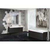 PureScape AquateX™ Pure 1D™ Back To Wall Rectangular Solid Surface Bathtub with Dark Decorative Wooden Side Panels, Matte White, 67'' W x 31-1/2'' D x 24'' H