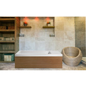 PureScape AquateX™ Pure 2L™ Back To Wall Rectangular Solid Surface Bathtub with Light Decorative Wooden Side Panels, Matte White, 82-3/4'' W x 31-1/2'' D x 24'' H