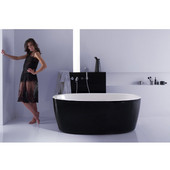PureScape™ Freestanding Oval Acrylic Bathtub, High Gloss Black Outside, White Inside, 63'' W x 30'' D x 23-1/2'' H