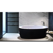 PureScape™ Freestanding Oval Acrylic Bathtub, High Gloss Black Outside, White Inside, 68-3/4'' W x 32-3/4'' D x 23-1/2'' H