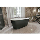 PureScape AquateX™ Freestanding Oval Solid Surface Bathtub, Matte Black Outside, White Inside, 55-1/8'' W x 27-1/2'' D x 24'' H