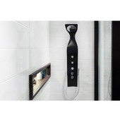 Elise™ Wall-Mounted Solid Surface Shower Panel, Matte Black, 13'' W x 9-1/2'' D x 58-3/4'' H