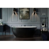 Sensuality Mini™ Mini Freestanding Oval Solid Surface Bathtub, Matte Black Outside, White Inside, 66-1/2'' W x 33'' D x 26-3/4'' H
