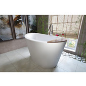 True Ofuro Freestanding Stone Japanese Soaking Unique-Shaped Bathtub, Matte White, 51-1/2'' W x 36-1/4'' D x 33-3/4'' H