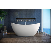 Purescape 171 Freestanding Oval Solid Surface Bathtub, Matte White, 72'' W x 39-1/4'' D x 31'' H