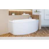 Anette™ Left Corner Acrylic Bathtub, High Gloss White, 63'' W x 37-1/2'' D x 24-3/4'' H