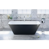 Arabella™ Freestanding Solid Surface Bathtub, Matte Black Outside, White Inside, 68-1/2'' W x 30-1/4'' D x 24-1/2'' H