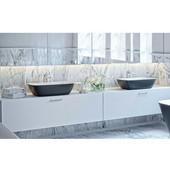 Arabella™ Stone Vessel Sink, Matte Black Outside, White Inside, 21-3/4'' W x 15-3/4'' D x 6'' H