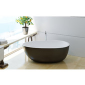 Spoon2 Egg Shaped Freestanding Solid Surface Bathtub, Matte Black Outside, White Inside, 66-1/4'' W x 35-1/4'' D x 22-1/2'' H