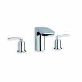 Bollicine 3-Hole Mounted Sink Faucet, Chrome, Faucet Spout Reach 5-1/2''D