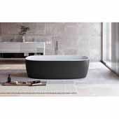 Coletta™ Freestanding Solid Surface Rectangular Bathtub, Black Outside, White Inside, 70-3/4''W x 35-1/2''D x 19-3/4''H