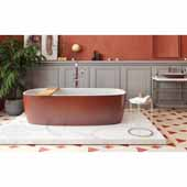 Coletta™ Freestanding Solid Surface Rectangular Bathtub, Red Outside, White Inside, 70-3/4''W x 35-1/2''D x 19-3/4''H
