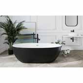Corelia Freestanding Oval Solid Surface Bathtub, Black Outside, White Inside, 66-1/2'' W x 34-1/4'' D x 20-3/4'' H