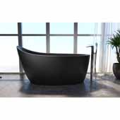 Emmanuelle 2 Freestanding Solid Surface Unique-Shaped Bathtub, Black, 66-1/4''W x 35''D x 32-3/4''H