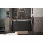 Sophia Freestanding Solid Surface Oval Bathtub, Black, 57''W x 34-3/4''D x 27-1/4''H