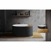 Sophia Wht Freestanding Solid Surface Oval Bathtub, Black Outside, White Inside, 57''W x 34-3/4''D x 27-1/4''H