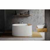 Sophia Freestanding Solid Surface Oval Bathtub, White, 57''W x 34-3/4''D x 27-1/4''H