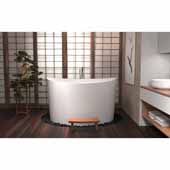 True Ofuro Duo Freestanding Stone Japanese Soaking Unique-Shaped Bathtub, White, 61-1/2''W x 49-1/4''D x 37-1/4''H
