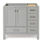 Cambridge 36'' Left Offset Single Sink Base Cabinet In Grey, 36''W x 21-1/2''D x 33-1/2''H