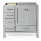 Cambridge 36'' Right Offset Single Sink Base Cabinet In Grey, 36''W x 21-1/2''D x 33-1/2''H
