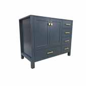 Cambridge 42'' Left Offset Single Sink Base Cabinet In Midnight Blue, 42''W x 21-1/2''D x 33-1/2''H