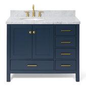 Cambridge 43'' Single Oval Sink Vanity w/ Left Offset Sink in Midnight Blue, 43''W x 22''D x 35''H