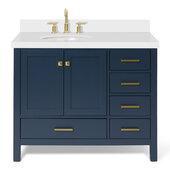 Ariel Cambridge 43' Left Offset Oval Sink Freestanding Vanity with White Quartz Countertop in Midnight Blue