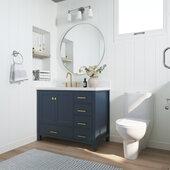 Ariel Cambridge 43' Left Offset Rectangle Sink Freestanding Vanity with White Quartz Countertop in Midnight Blue
