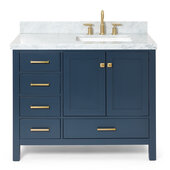 Cambridge 43'' Single Rectangle Sink Vanity w/ Right Offset Sink in Midnight Blue, 43''W x 22''D x 35''H