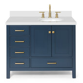 Ariel Cambridge 43' Right Offset Oval Sink Freestanding Vanity with White Quartz Countertop in Midnight Blue