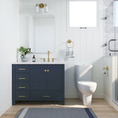 Ariel Cambridge 43' Right Offset Rectangle Sink Freestanding Vanity with White Quartz Countertop in Midnight Blue