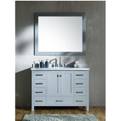 Cambridge 49'' Single Oval Sink Vanity Set with Matching Mirror in Grey, 49''W x 22''D x 35''H