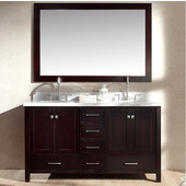 Cambridge 61'' Double Oval Sink Vanity in Espresso with Matching Mirrors, 61''W x 22''D x 35''H