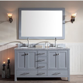 Cambridge 61'' Double Oval Sink Vanity Set in Grey, 61''W x 22''D x 35''H