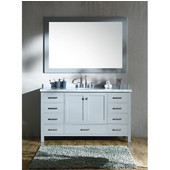 Cambridge 61'' Single Sink Vanity Set with Matching Mirror in Grey, 61''W x 22''D x 35''H