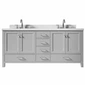 Ariel Cambridge 73' Double Oval Sink Freestanding Vanity with White Quartz Countertop in Grey