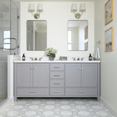 Ariel Cambridge 73' Double Rectangle Sink Freestanding Vanity with White Quartz Countertop in Grey
