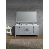 Cambridge 73'' Double Rectangle Sink Vanity Set in Grey, 73''W x 22''D x 35''H