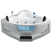 Two Person Whirlpool Bathtub, White, 61-13/32''W x 61-13/32''D x 29-1/2''H