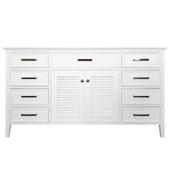 Kensington 60'' Single Sink Base Cabinet In White, 60''W x 21-1/2''D x 33-1/2''H